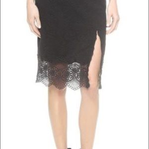 c1028818e0d8 Free People Skirts - Free People Black Stretch Knit Lace Hem Skirt